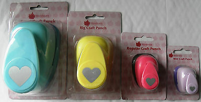 "Woodware Heart Punches - Various Sizes 2"", 11/2"", 1"", 5/8"", 8mm."