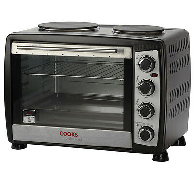 Cooks Professional Mini Black Countertop Double Hob Oven Cooker 35L Capacity