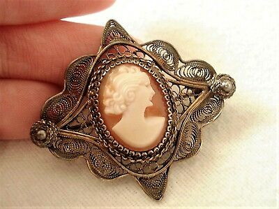 Vintage Edwardian Filigree Cameo Brooch Carved Shell Old Antique Jewellery