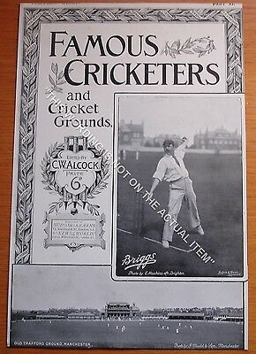 RARE Original Famous Cricketers, Briggs, Lancs, Old Trafford Cricket Ground 1895