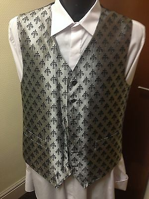 Hector James Waistcoat, Black & Silver, Various Sizes, Wedding / Formal (031)