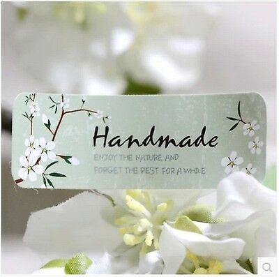 60 x Floral HANDMADE Sticker Seal Label for Gift Box Soap Craft Packaging Decora