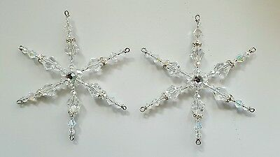 Two Glass Crystal Beaded Snowflake Ornament Suncatcher Decorations *21