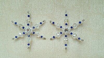 Two Royal Blue Glass Beaded Snowflake Suncatcher Ornament Decorations