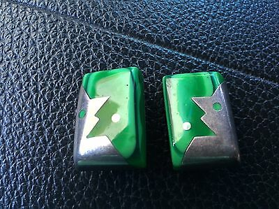 Vintage Taxco Sterling Silver Malachite Modernist Clip Earrings