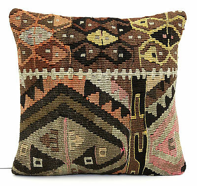 "AUTHENTIC HANDWOVEN ANATOLIAN TURKISH GEOMETRIC KILIM RUG PILLOW COVER 14"" x 14"""