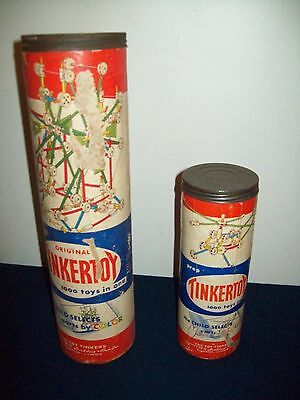 Lot of 2 Empty Tinkertoys Containers Spalding Grad 215 piece & Prep 78 pieces