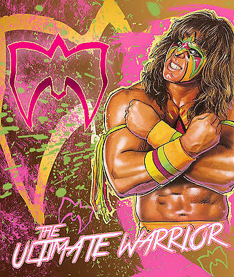 The Ultimate Warrior Art Wrestling Poster WWF WCW 8x11 Hologramed & Numbered