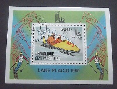Central Africa-1980-Olympics/Lake Placid/Bobsleigh Minisheet-Used