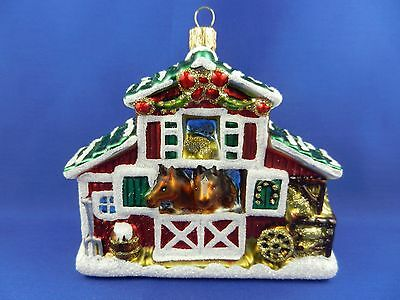 Horse Stable Barn Western Blown Glass Christmas Tree Ornament Poland 011294