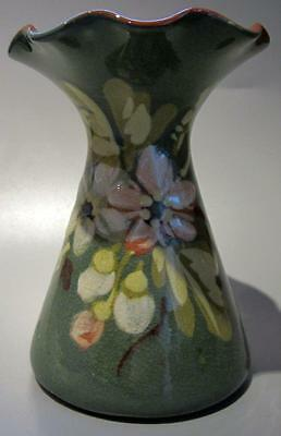 Devon Torquay Art Pottery Ware Green Floral Fluted Vase