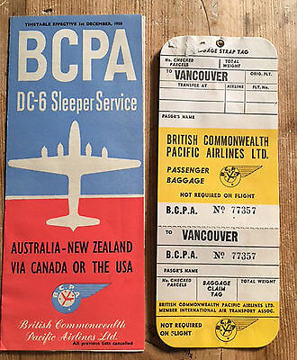 BRITISH COMMONWEALTH PACIFIC AIRLINES BCPA: 1950 Timetable & Baggage Strap Label