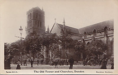 Old Tower Churches DUNDEE Scotland 1901-11 Davidson's Real Photo Postcard 511-1