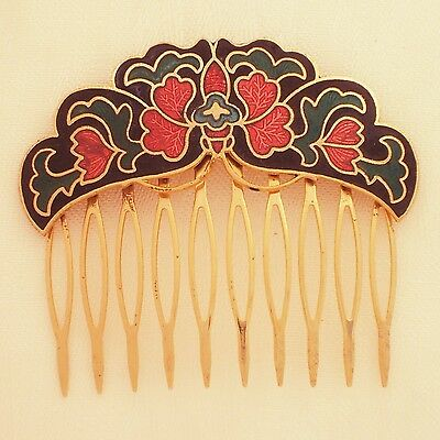 zweiter Steck-Kamm Schmetterling 518.1g Cloisonné Butterfly haircomb gold color