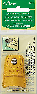 Clover Medium Coin Thimble Leather Sewing Needle Craft Hobby CL6014