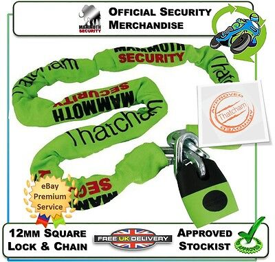 New Thatcham Approved 1.2M Mammoth Shackle Lock Chain Motorcycle Motorbike  Bike