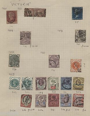 VICTORIA 1841-1887 20  VARIOUS STAMPS 2d BLUE,  6D GREY PLATE 16, 1d RED ETC