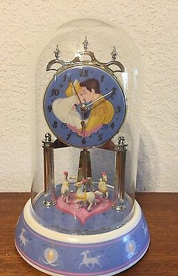 Cute Disney Cinderella And Prince Charming Glass Dome Table Clock