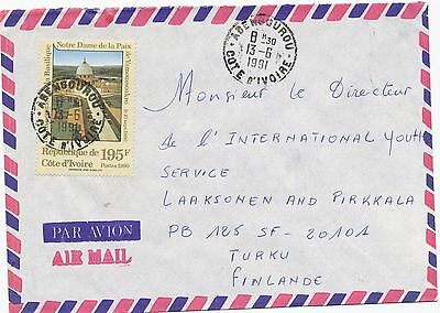 Ivory Coast 1991 Notre Dame church stamp on  cover to Finland