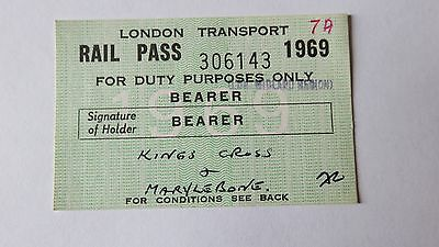 Railway ticket, Pass for London Transport. Issued 1969.