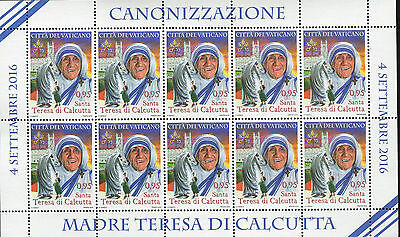 Vatican City Stamps 2016 Set Canonization of Mother Teresa of Calcutta SHEET MNH