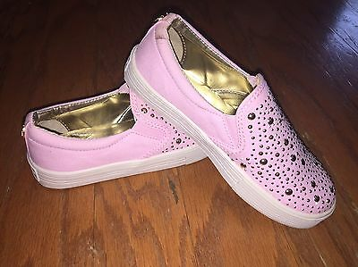 Michael Kors Slip On Shoes Pink with Gold Studs Girls Size 13