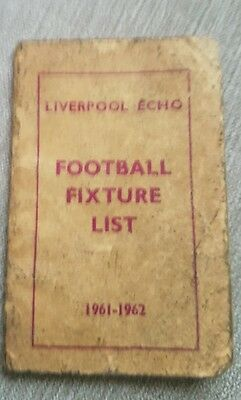 Liverpool Echo Football Fixture List/Rules of the Game Booklet 1961-1962 Season
