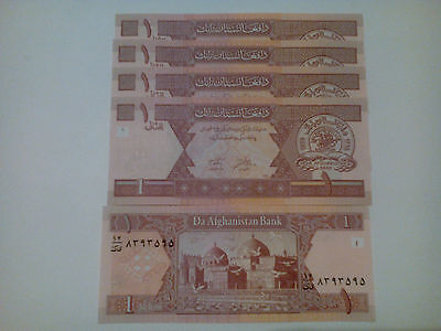 Afghanistan 1 Afghanis 2002 Fds-Unc Lotto 5 Pcs