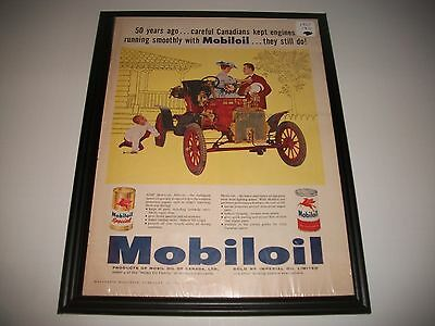 1960 Mobiloil / 1910 Ford Model T Original Print Ad Garage Art Collectible