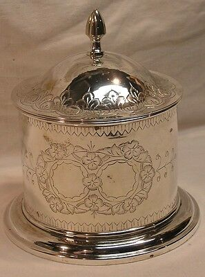 Vintage Silver Plated Tea Caddy Biscuit Box Barrel