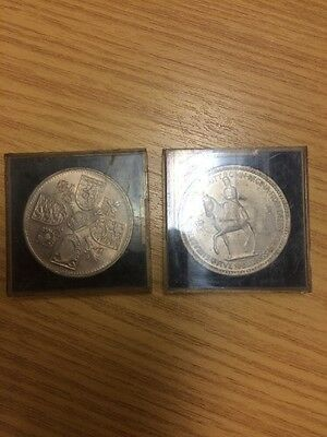 2 x 1953 five shilling coins