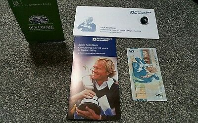 Jack Nicklaus £5 note Commemorative Folder, Envelope St Andrews scorecard Marker