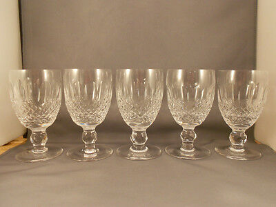 """5 Waterford Crystal Colleen Claret Wine Goblets 4 3/4"""" Excellent"""