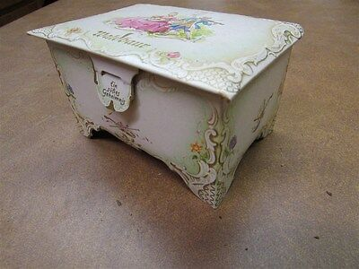 Little Antique German Decorated Cardboard Chocolate Candy Chest A-3