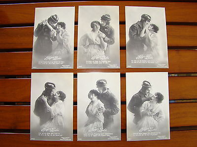 """Rare Sanke """"fliegers Liebe"""" German Pilot And Lover - Set Of 6 Ww1 Postcards Pc"""