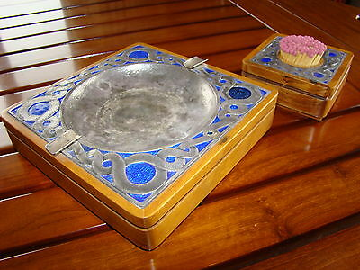 OTTAVIANI ASHTRAY AND MATCH TRAY .925 SILVER & ENAMELS 1950s ITALY