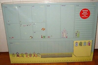 BN Cute Beach Huts Weekly Desk Planner with Sticky Notes Any Date (Ref A)