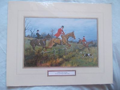 """VINTAGE HUNTING PRINT """"OVER THE STICKS"""" by George Wright (1860-1942)"""
