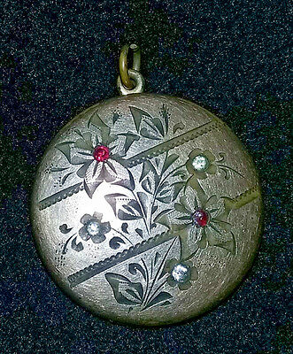 Antique 1903 Victorian Floral Red Clear Stone Gold Filled Locket RBM Atrice 1874