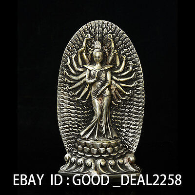 Chinese Silver Copper Handwork Carved Senju  Kwan-yin Statues gd9739