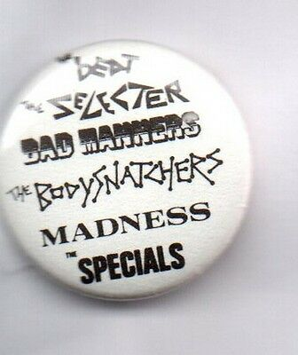 SKA BANDS BUTTON BADGE - MADNESS, THE BEAT, SELECTER, SPECIALS, BAD MANNERS 25mm