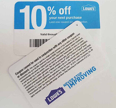 (20) Lowe's 10% Off Purchase   Competitors Only! Expire 5/15/2017 -Home Depot-