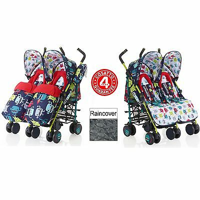 New Cosatto Cuddle Monster2 Supa Dupa Twin Stroller Lightweight Double Pushchair
