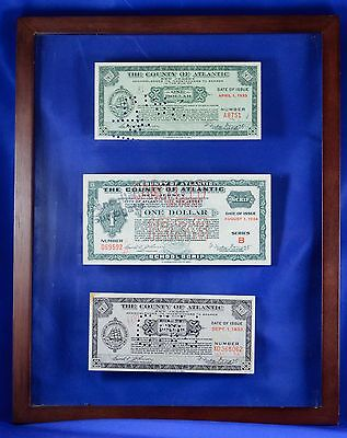 Antique SET of One Dollar Atlantic County NJ Scrip 1933 & 1934 in 2-Sided FRAME