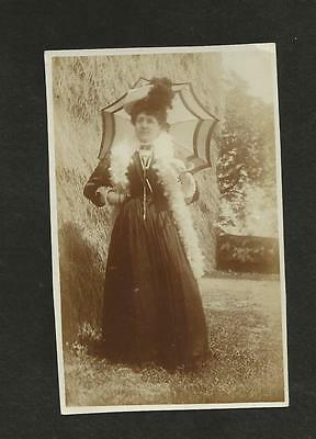 Vintage Postcard Edwardian Woman With Parasol And Boa