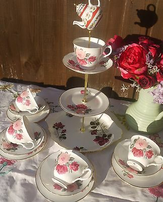 Vintage Gainsborough pink roses tea set & mad hatter  cake stand & 4 trio's