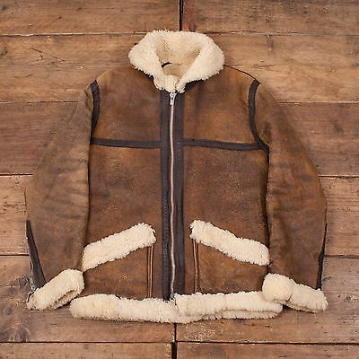 "Mens Vintage Sheepskin B-3 Leather Fur Lined Flight Jacket Brown S 36"" R4530"