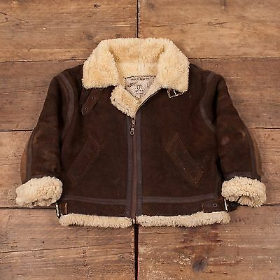 Children's Vintage Sheepskin B-3 Fur Lined Flight Jacket Brown 8 Years R4533