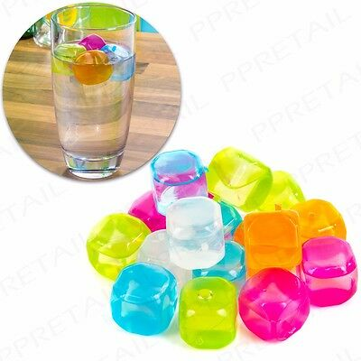 18x REUSABLE PLASTIC ICE CUBES - NON-DILUTING Colourful Cold Drink BBQ UK SELLER
