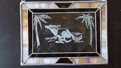 SALUKI- Gorgeous Hand engraved and stained glass panel by Ingrid Jonsson
